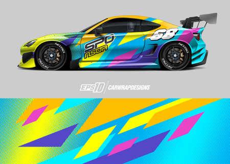 Car wrap decal graphic design. Abstract stripe racing background designs for wrap cargo van, race car, pickup truck, adventure vehicle. Eps 10 Ilustração