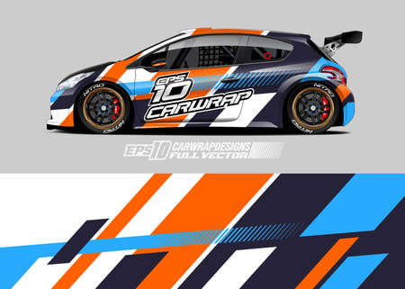Car wrap decal graphic design. Abstract stripe racing background designs for wrap cargo van, race car, pickup truck, adventure vehicle. Eps 10