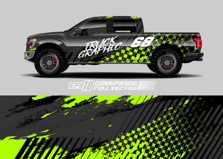 Race car wrap decal graphic design. Abstract stripe racing background designs for wrap cargo van, pickup truck, adventure vehicle. Eps 10