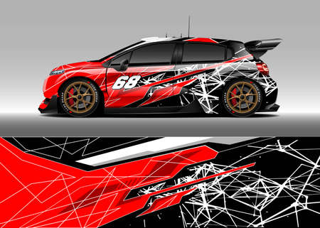 Car livery design. Abstract stripe racing background designs for wrap cargo van, race car, pickup truck, adventure vehicle. Eps 10 Vetores