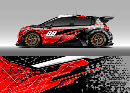Car livery design. Abstract stripe racing background designs for wrap cargo van, race car, pickup truck, adventure vehicle. Eps 10