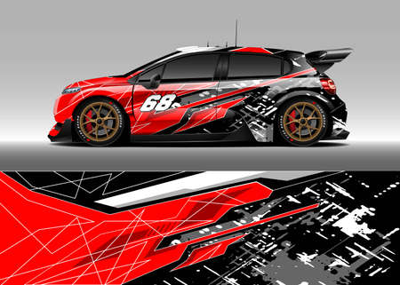 Car wrap decal graphic design. Abstract stripe racing background designs for wrap cargo van, race car, pickup truck, adventure vehicle. Vetores