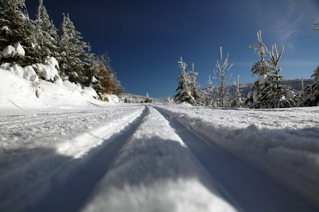 crosscountry: cross-country ski trail Stock Photo