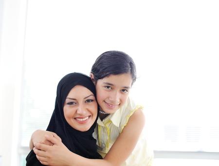 Muslim arabic mother and daughter
