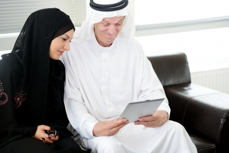 arab girl: Two couple muslim  on office