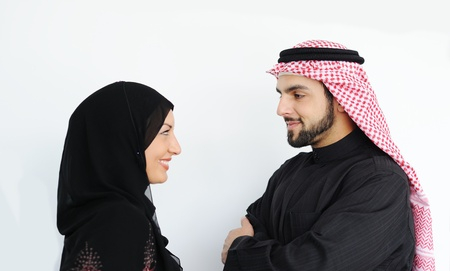 businees: Two couple muslim standing and looking Stock Photo