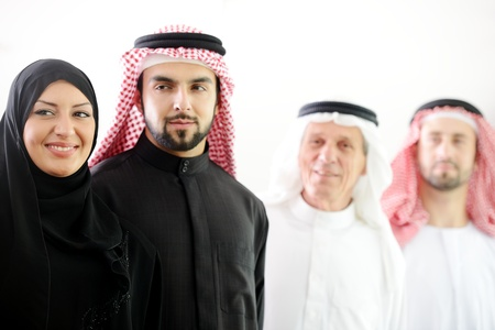 headcloth: Successful and happy business arabic  people  Stock Photo