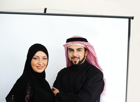 Two couple muslim standing on office  Reklamní fotografie