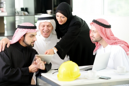 gulf: Portrait of araabic architect explaining his project Stock Photo