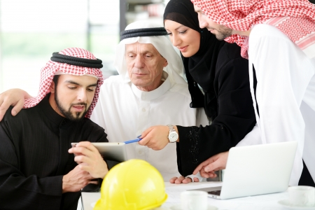 arab business: Portrait of araabic architect explaining his project Stock Photo