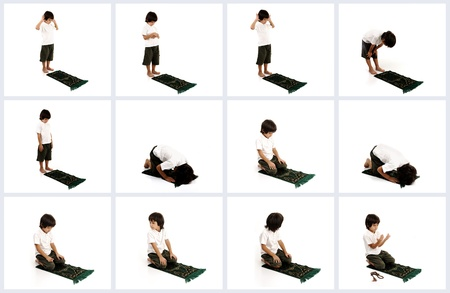 beliefs: Muslim kid showing Islamic prayer with all poses Stock Photo
