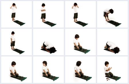 Muslimischen Kind, das islamische Gebet mit allen Posen Standard-Bild - 22074980
