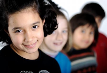 mixed race girl: Group of children