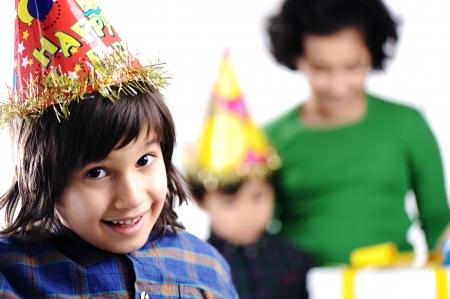happy birthday girl: Birthday party children group family