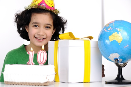 tanned girl: Happy birthday for 10 years old daughter Stock Photo