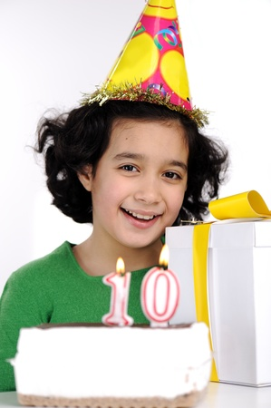 10 years old: Happy birthday for 10 years old daughter Stock Photo