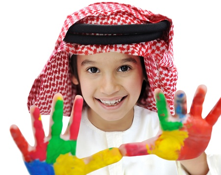 learning arabic: Arabic Muslim playful colorful child