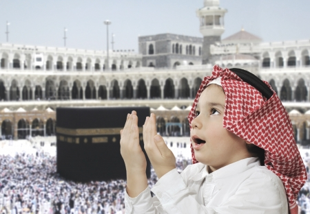 Muslim Arabic Kid praying photo