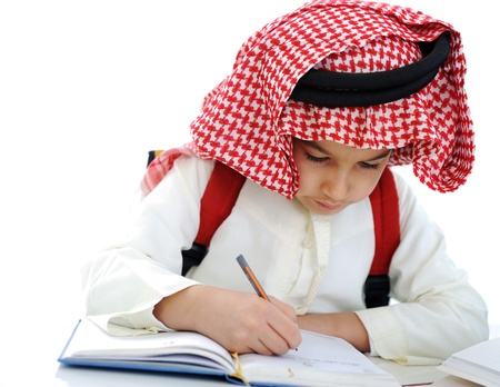 Arabic little boy writing Reklamní fotografie
