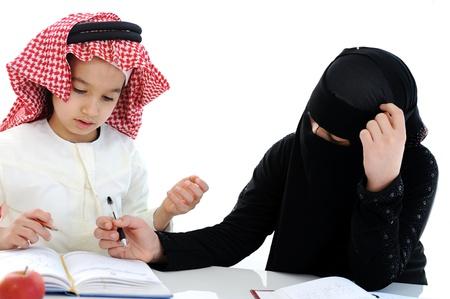 Muslim Arabic boy and girl at school