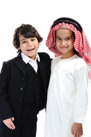 Arabic and european little boys photo