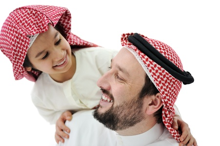 shoulder ride: Arabic Muslim father and son