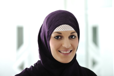 east asian ethnicity: Pretty young Asian Muslim woman  Stock Photo
