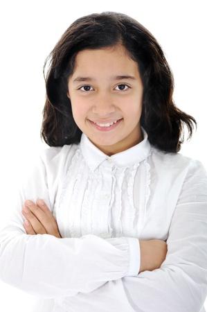 petite fille musulmane: heureuse petite fille un sur fond blanc