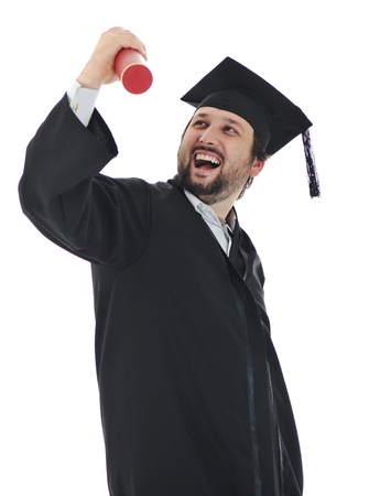 excited graduate student in gown photo