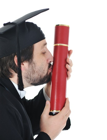 mba: excited graduate student in gown