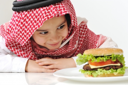Cute child with Burger 스톡 콘텐츠