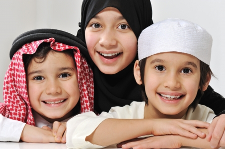 arabic: Little Muslim Arabic girl and two boys portrait