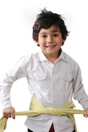 splice: Cute kid tiying his torso with shirt