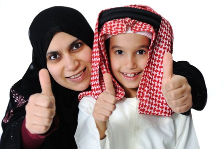 Arabic Muslim mother and son with thumb up photo