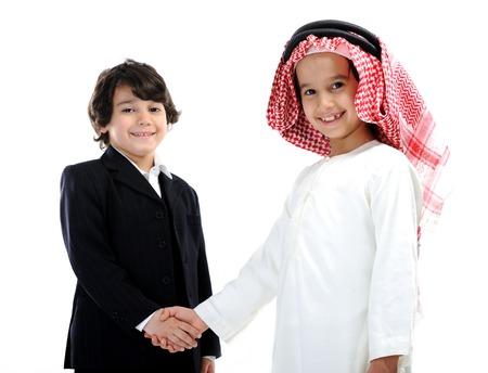 Teamwork handshaking successful little people photo