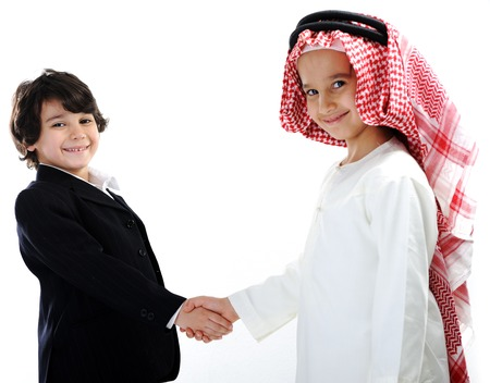Middle eastern and european children businessmen teamwork photo