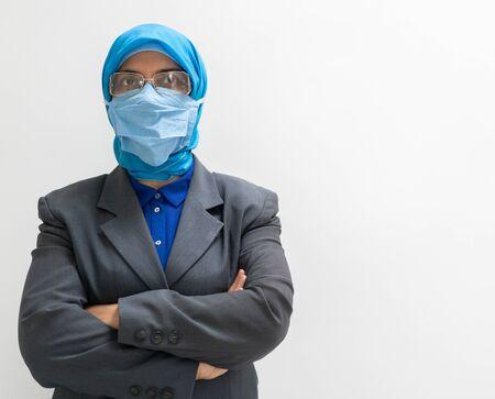 Muslim female doctor wearing mask
