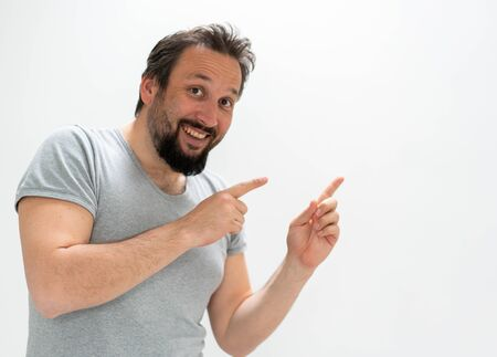 Adut man portrait posing with gestures