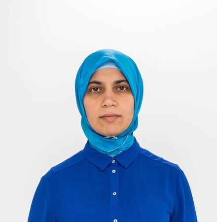 Muslim woman in blue clothing portrait