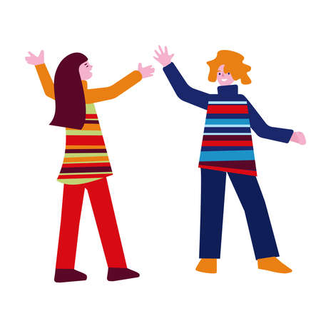 Two young women girls greet each other with joyful gestures. Vector illustration in flat style.