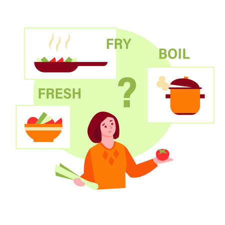 The girl wondered how to cook a vegetable. Fry, boil, raw. Healthy food concept. Vector illustration in flat style.