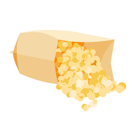 Popcorn in a microwave bag. Vector flat illustration.