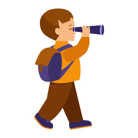 A boy with a backpack for a hike looks through a spyglass. Vector illustration in flat style. Isolated on white.