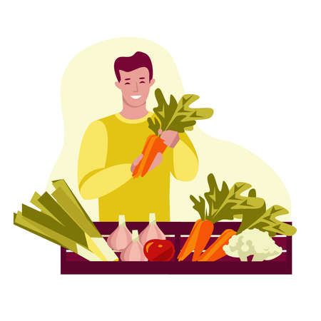 Young man with boxes of fresh vegetables. Holds carrots. Grocery store, market. Vector illustration. Isolated on a white.