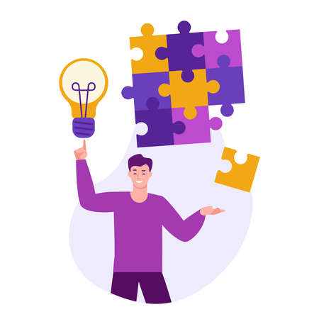 Ideas for solving problems. A young man with a light bulb compiled a puzzle. Vector concept in flat cartoon. Ilustrace