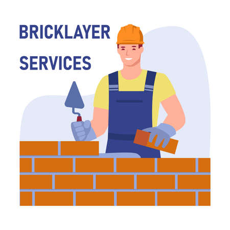 A male bricklayer worker in uniform is building a wall. Bricklayer services. Vector concept. Illustration in flat cartoon style.