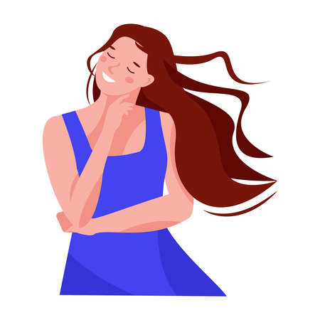 Girl dreams, closed her eyes, her hair fluttering in the wind. Summer blue dress. Vector illustration in flat cartoon style. Isolated on a white.