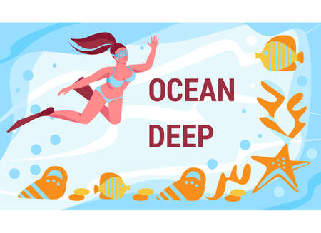 A girl in flippers and a mask swims in the depths of the ocean. Starfish, shellfish, fish. Vector template. Illustration in flat cartoon. Ilustracje wektorowe