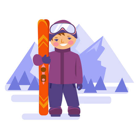 The boy stands with mountain skis on the background of mountains. Vector illustration in flat style. Isolated on white.