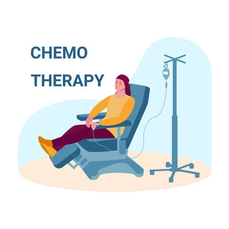 Oncology patient having a chemotherapy. Woman with cancer gets a drip. Vector concept of cancer treatment and medicine. Illustration in flat cartoon.